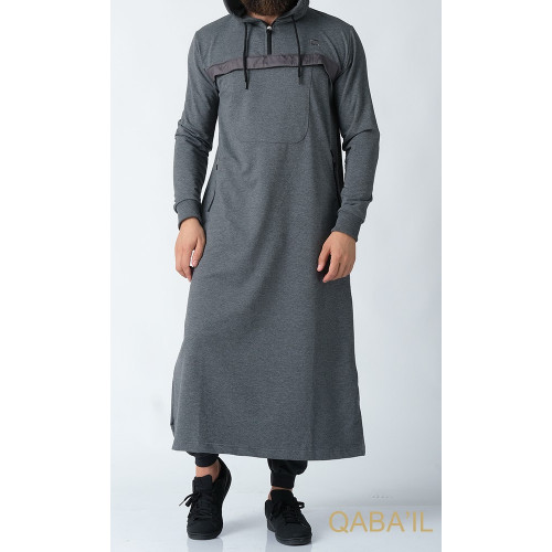 Qamis Long Capuche Jogging - Furtif - Anthracite - Qaba'il