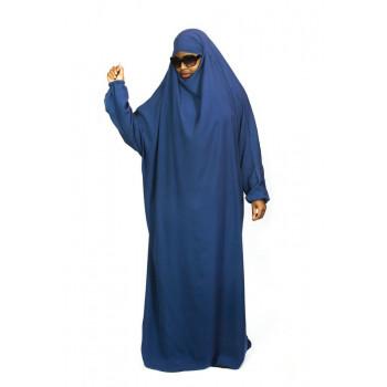 Jilbab 1P - Bleu Indigo 89 - Wool Peach - Jilbeb El Bassira