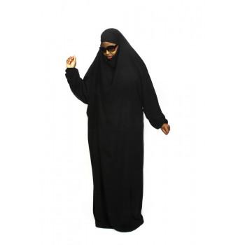 Jilbab 1P - Noir - Wool Peach - Jilbeb El Bassira