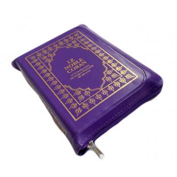 Le Noble Coran Violet Zipper - Français /Arabe - FORMAT POCHE 13 x 19 cm