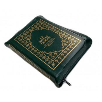 Le Noble Coran Vert Zipper - Français /Arabe - FORMAT POCHE 13 x 19 cm