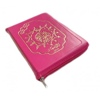 Coran Arabe Tajwid Rose de Poche Zipper - 15 x 22 cm - Hafs - Edition Al Maarifa