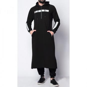 Qamis Long Capuche Jogging - Vortex II - Noir - Qaba'il