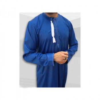 Qamis Omani - Tissu Precious Bleu Roi Satin et Broderie Blanc - Custom Qamis