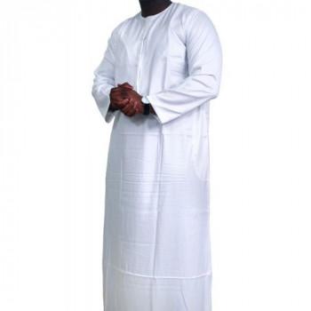 Qamis Omani Blanc - Manche Longue - Sans Col - Tissu Glacé - Qamis Sultan