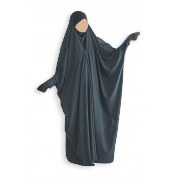 Jilbab 1 Pièce Saoudien à Clips - Gris Anthracite - Jilbeb Umm Hafsa