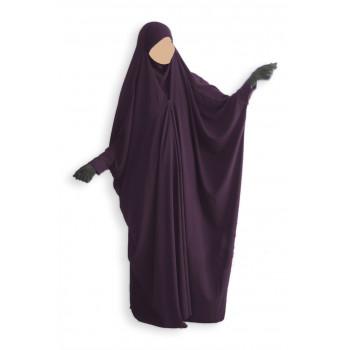 Jilbab 1 Pièce Saoudien à Clips - Prune - Jilbeb Umm Hafsa