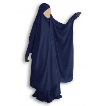 Jilbab 2 Pièce à Clips - Bleu Nuit - Jilbeb Umm Hafsa