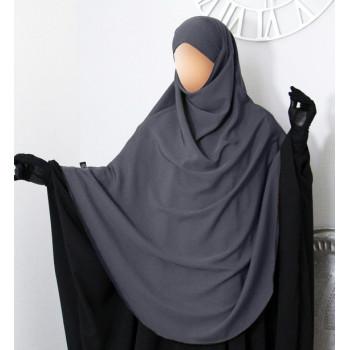 Hijab / Khimar Extra Long Hafsa - Gris - Umm Hafsa