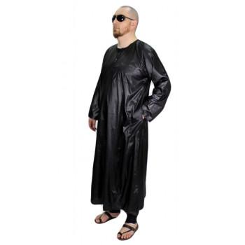 Ensemble Qamis + Pantalon - Noir avec Broderie - Manche Longue - Sans Col - Tissu Glacé - AFAQ