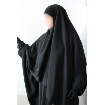 Hijab / Khimar et Bandeau Tube Lycra - Noir - Umm Hafsa