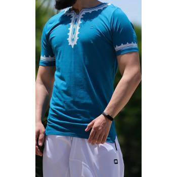 T-Shirt Etniz Turquoise - Qaba'il : manches courtes