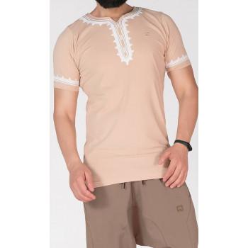 T-Shirt Etniz Beige - Qaba'il : manches courtes