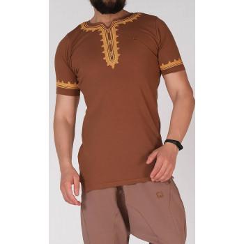 T-Shirt Etniz Marron - Qaba'il : manches courtes