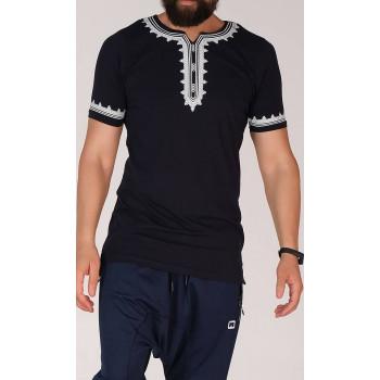 T-Shirt Etniz Bleu Nuit - Qaba'il : manches courtes