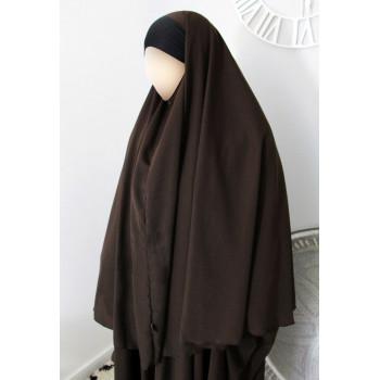 Hijab / Khimar Maryam Bandeau Lycra - Marron - Umm Hafsa