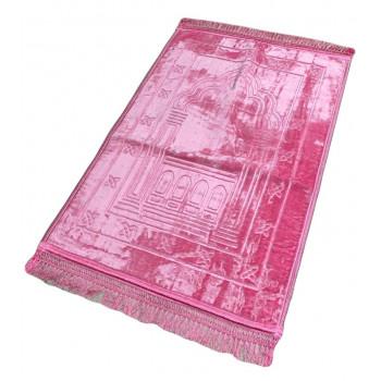 Grand Tapis de Prière - Rose - Motif Mirhab - Molletonné, Épais et Très Doux - Confortable et Anti-Dérapant