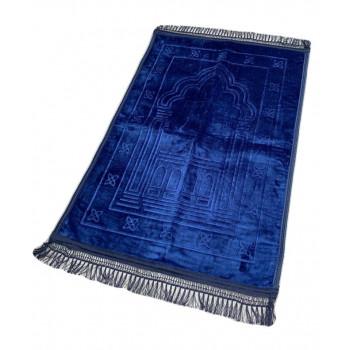 Grand Tapis de Prière - Bleu - Motif Mirhab - Molletonné, Épais et Trés Doux - Confortable et Anti-Dérapant