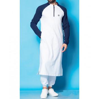 Qamis Long Longline - Blanc et Indigo - Qaba'il