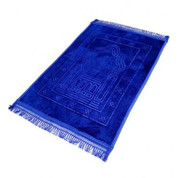 Grand Tapis de Prière - Bleu Roi - Motif Mirhab - Molletonné, Épais et Très Doux - Confortable et Anti-Dérapant