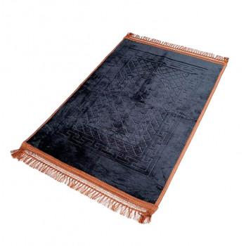 Grand Tapis de Prière - Noir - Motif Mirhab - Molletonné, Épais et Très Doux - Confortable et Anti-Dérapant