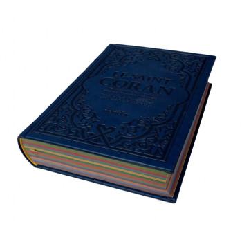 Le Saint Coran Bleu Foncé - Couverture Daim - Pages Arc-En-Ciel - Français-Arabe-Phonétique - Maison Ennour