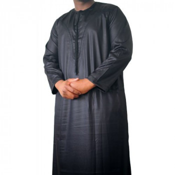 Qamis Omani Noir - Manche Longue - Sans Col - Tissu Glacé - Qamis Sultan