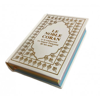 Le Saint Coran Marron - Couverture Daim - Pages Arc-En-Ciel - Français-Arabe - Sana
