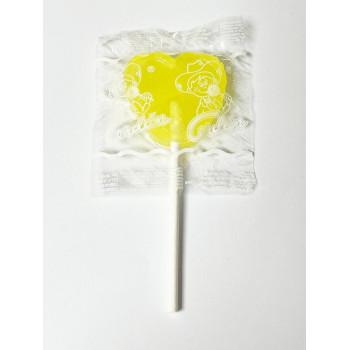 Grande Sucette Coeur Jaune - Citron - Bonbon Halal