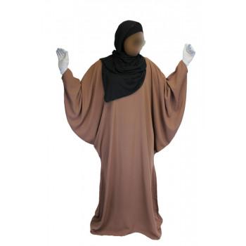 Robe Brun Rose El Bassira - Arbaya Papillon - Modèle F WP - Tissus Tissus Wool Peach n°7 - Couleur Unis