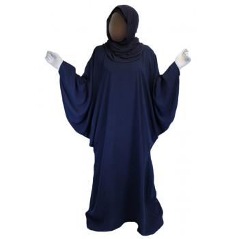 Robe Bleu El Bassira - Arbaya Papillon - Modèle F WP - Tissus Tissus Wool Peach n° 28 - Couleur Unis