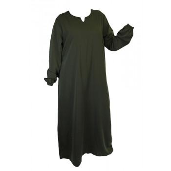 Robe Kaki El Bassira - Arbaya Simple - Modèle HE WP - Tissus Wool Peach n°52 - Couleur Unis
