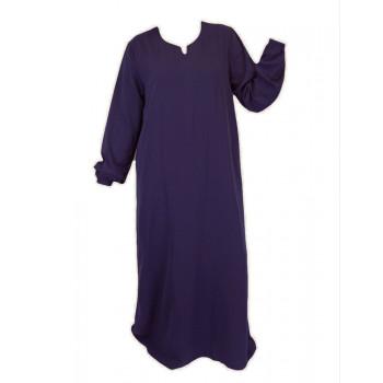 Robe Anthracite El Bassira - Arbaya Simple - Modèle HE WP - Tissus Wool Peach n°15 - Couleur Unis
