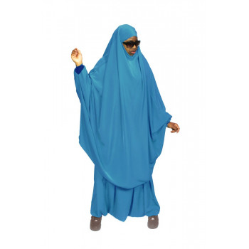 Jilbab Bleu Turquoise - 2P Cape + Sirwal - N32 - Jilbeb Al Manassik
