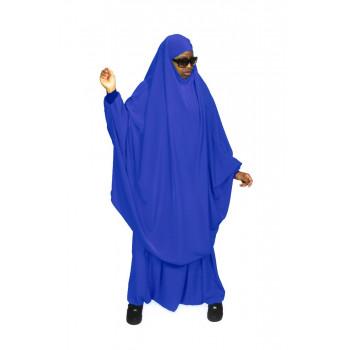 Jilbab Bleu Roi - 2P Cape + Sirwal - N29 - Jilbeb Al Manassik