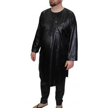 Qamis Pakistanais avec Pantalon - Noir - Qamis Afaq