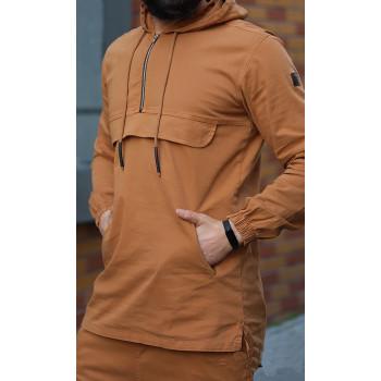 Sweat Capuche en Coton Stretch - Camel - Qaba'il : Haut Kameron