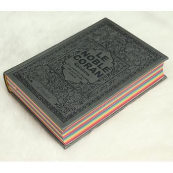 Le Noble Coran Gris - Couverture Daim - Pages En Couleur Arc-En-Ciel, Rainbow - Bilingue Français-Arabe