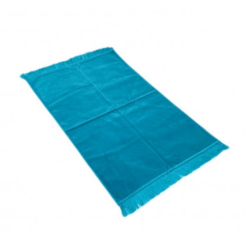 Tapis de Prière de Luxe - Couleur Bleu Canard Unis - Adulte - 73 x 110 cm