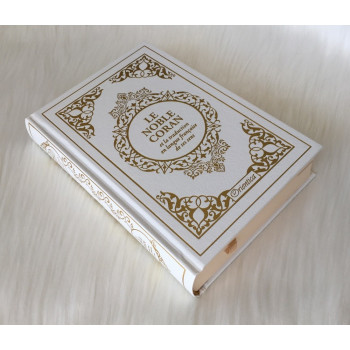 Le Noble Coran Blanc Doré - Edition de Luxe Couverture Daim - Index des Sourates - Français-Arabe - Orientica