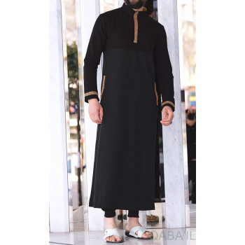 Qamis Court - Blanc et Broderie Argenté - Qaba'il : Eminence