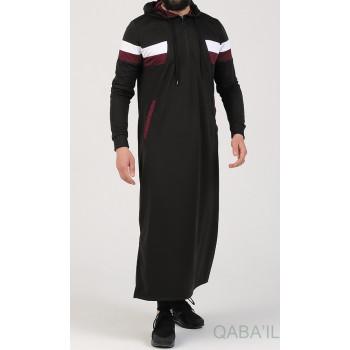 Qamis Long Capuche Jogging Noir - Trial - Qaba'il