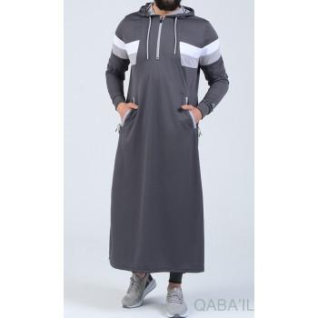 Qamis Long Capuche Jogging Anthracite - Trial - Qaba'il