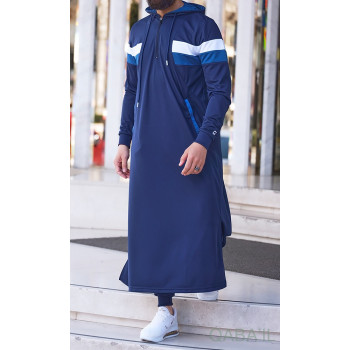 Qamis Long Capuche Jogging Bleu Nuit - Trial - Qaba'il