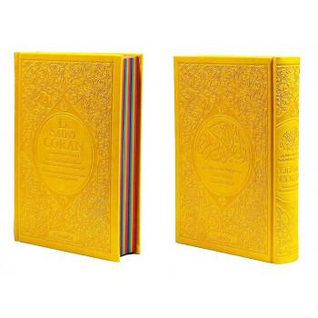 Le Saint Coran Arc en Ciel - Arabe / Français / Phonétique - Edition De Luxe - Couverture En Daim Couleur Jaune