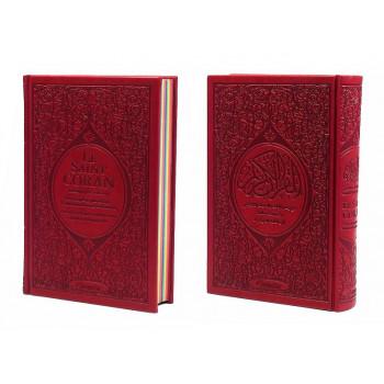Le Saint Coran Arc en Ciel - Arabe / Français / Phonétique - Edition De Luxe - Couverture En Daim Couleur Bordeaux