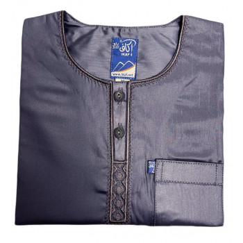 Qamis Afaq Enfants Noir - Manche Longue + Pantalon - Sans Col - Tissu Glacé - du 9 mois à 11 ans