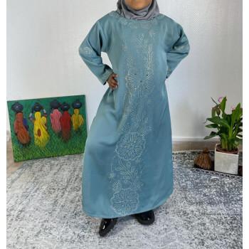 Abaya Fille Dubai Enfant - Bleu Clair