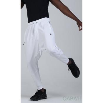 Sarouel Jogging - Tissu Léger - Coupe Semi Droite - Blanc Qaba'il : Sarouel Léger CSD