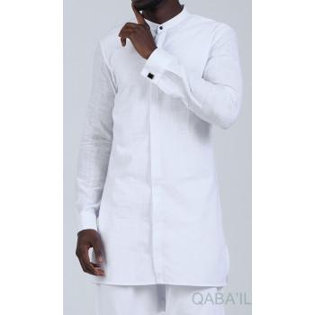 Chemise Ultra Légere Col officier - Blanc - Qaba'il